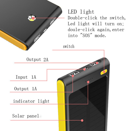 6000mAh Dual USB Solar Power Bank