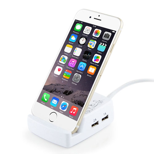 4 USB Charger With Built-In Phone Holder