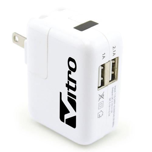 Foldable US Plug 2 USB Power Adapter