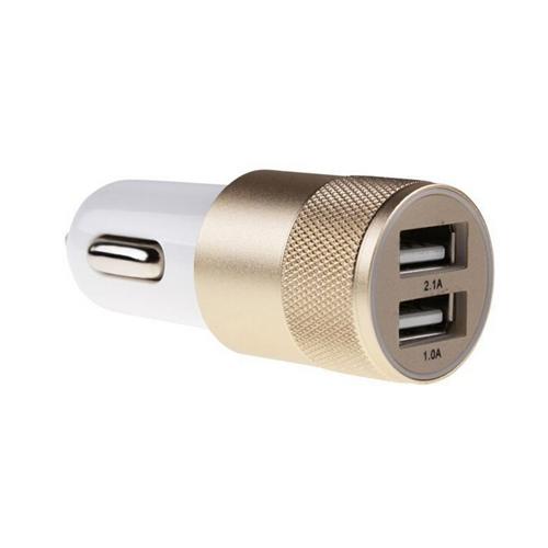 Aluminum Dual USB Ports Car Charger