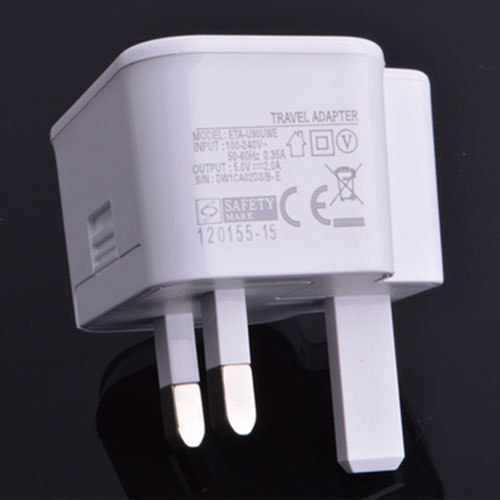 Dual USB UK Plug Wall Charger Image 2