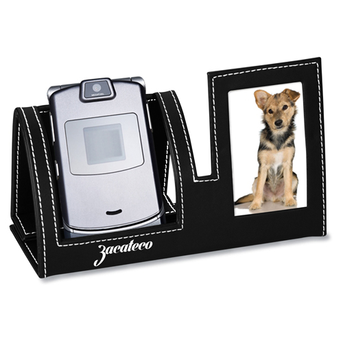 Leatherette Cell Phone Stand With Picture Frame