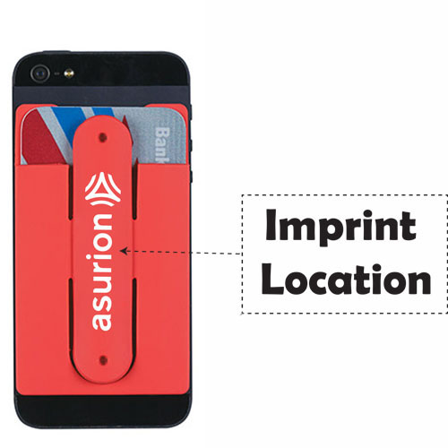 2 In 1 Silicone Mobile Wallet With Stand Imprint Image