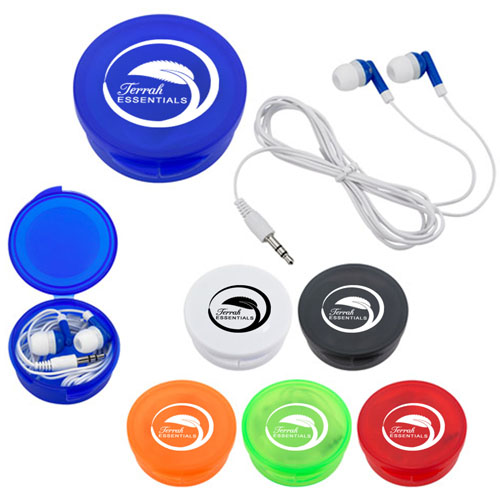 Earbuds With Round Plastic Case