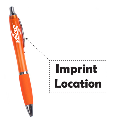 Chrome Trim Retractable Ballpoint Pen Imprint Image