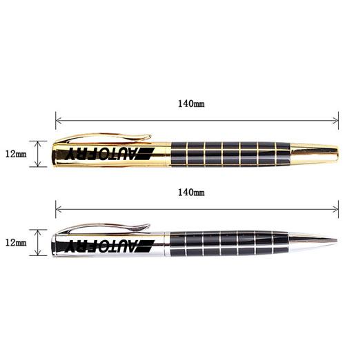 Metal Grid Roller Ball Pen Image 1
