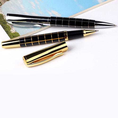 Metal Grid Roller Ball Pen Image 4
