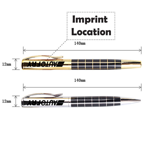 Metal Grid Roller Ball Pen Imprint Image