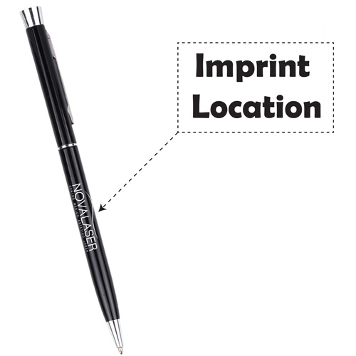 Chrome Trim Twist Action Ball Pen Imprint Image