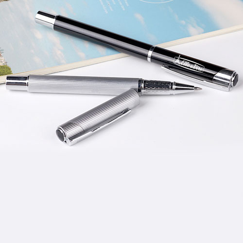 Eco-friendly metallic striped roller ballpen Image 4