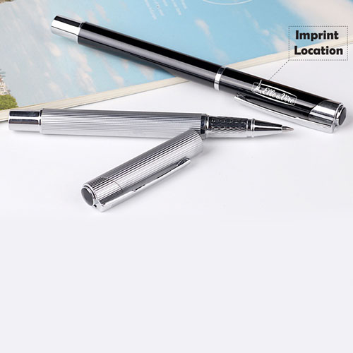 Eco-friendly metallic striped roller ballpen Imprint Image