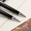 Metal Clip Retractable Black Ball Pen Image 1