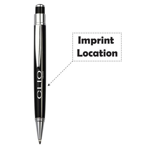 Metal Clip Retractable Black Ball Pen Imprint Image