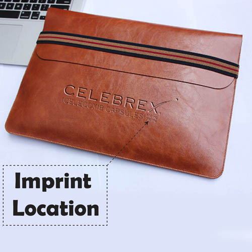 Leather Laptop Sleeve With Elastic Closure Imprint Image