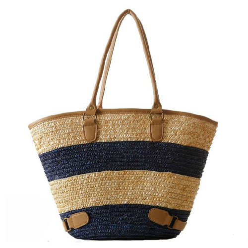 Women Striped Durable Tote Beach Bag Image 1
