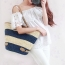 Women Striped Durable Tote Beach Bag Image 5