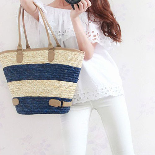 Women Striped Durable Tote Beach Bag Image 7