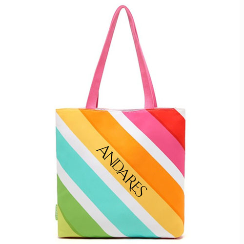 Rainbow Striped Shopping Bags